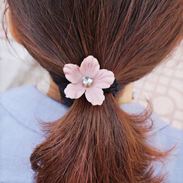 Ring Ties Canada - Woman headdress hair Colorful plaid (jewelry) Korean Tousheng rubber band to tie her hair bow hair ring flower F0203