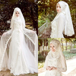 Wholesale Arabic Islamic Muslim Wedding Dresses Long Sleeves High Neck Wedding Gowns Without Veil Back Zipper A Line Beaded Custom Made Bridal Gowns