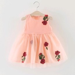 Wholesale 2017 Summer Baby Girl Dress Corée Fleur Open Blooms midsummer Pure Cotton Baby Enfant Vêtements Rose Jaune Blanc