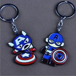 Key Rings For Kids Canada - New Hot Captain American Key Chain Superhero Pendant Alloy Cartoon Key Ring Cute For Kids 2 Styles Free Shipping