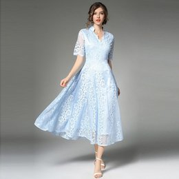 Barato Vestido Curto Grande Elegante-Elegant Vintage Lace Dress Solid Slim Women Evening Vestidos Summer High-end Short Sleeve Hollow Out Large Swing A Line Dresses