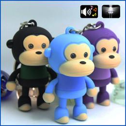 Discount toy monkeys sound - cute monkey sound light keychains flashlight sound ring cartoon toys animation led keychains child gift free dhl wholesa