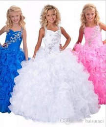 Wholesale Hot sale gorgeous Beautiful Beads Rhinestone Floor Length Ruffle Ball Gown spaghetti Flower Girl Dress Custom Size