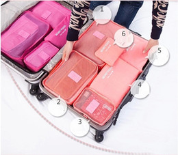 Lovely 6 Set Packing Cubes Travel Suitcase Closet Divider Container Storage Bag  Set For Clothes Tidy Organizer Laundry Bag Wholesale Yl15