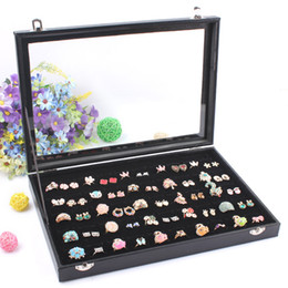 high end black boxes UK - High-end Black 100 Grids Ring Box Jewelry Storage Case Earring Display Jewelry Accessories Showcase Decoration With Glass Cover