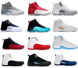 Discount rubber games - Cheap 2018 12 basketball shoes 12s black white flu Game GS Barons Gym Red master taxi wolf grey playoffs university blue