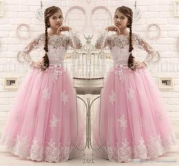 Barato Vestido Barato Meninas Rosa Quente-Hot Pink Andar Comprimento Flor Vestidos menina Long Sleeves 2016 Appliques Vestidos Pageant para Little Girl First Communion Gown Cheap Custom Made