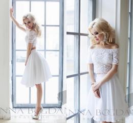 Short White Wedding Cocktail Dresses NZ - 2017 White Applique Lace Wedding Bridal Dresses Short Party Bridesmaid Dresses Off The Shoulder Bateau Neck Two Pieces Bridal Gowns Chiffon