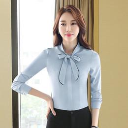 Großhandel Frauen-Blusen-Art- und Weisebögen-gebundenes Ansatz-Hemd-lange Hülsen-Arbeits-Oberseiten-Hemd-Weinlese-neue Chiffon- Bluse weiblich
