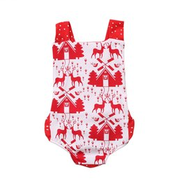 Discount kids romper pattern - Newborn Infant Girls Clothing Christmas Baby Romper Red Cute Deer Pattern Backless Jumpsuit One-piece Outfits Set Baby C
