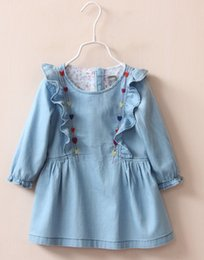Jupe En Dentelle Brodée Longue Pas Cher-2017 New Girl Baby Denim Long Sleeve Laces Dress Enfants Enfants Brodés Chemisiers Jeans Jupes Infantile Toddler Ruffles Plissé Jupe Robe