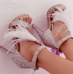 Crystal Diamond Fabrics Australia - 2017 New Diamond Ostrich Hair Sexy High-heeled Sandals Gladiator Shinny Dance Shoes T Strap Crystal Wedding Shoes Woman