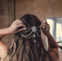 chain hairs NZ - Full Crystal Diamante head band hair jewelry wedding bridal head Jewelry,head chain birthday gift boho
