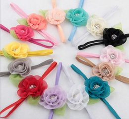 Wholesale Hair Accessories Fashion Beautiful Children Flower Hair Band Baby Head Hoop Lotus Leaf Rhinestone Head Band YH490
