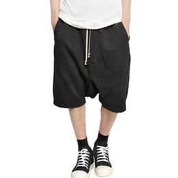 Chinese  Wholesale-2016 New Black Shorts Kanye West Cool Sweatpants Mens Jumpsuit HIPHOP Rock Stage Urban Clothing Owens Dress Harem manufacturers