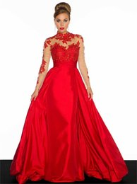 China Sheer Style Red Prom Dresses Long High Neck Lace Taffeta A-Line Applique Long Sleeve Backless Formal Evening Gowns Hot Sales Custom P120 cheap taffeta long purple dresses suppliers