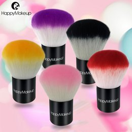 Cepillos De Maquillaje De Metal Negro Baratos-Happy Makeup Pro Lovely Colorido Maquillaje Blusher Brushes Pelo Sintético Blush Kabuki Brush con lindo Negro Pu Zip Bolsa de 5 colores