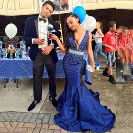 $enCountryForm.capitalKeyWord NZ - Royal Blue Prom Dress V Neck Off the Shoulder Beaded Satin 2017 Mermaid African Evening Gown for Graduation vestido
