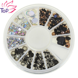Discount 3d acrylic nail art - Wholesale- Top Nail 3 Colors 3D Nail Art Rhinestones 4 Sizes Acrylic Diy Glitter 1 Wheel Decorations For Nails ZP239