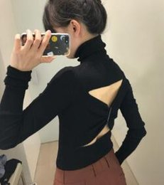 Pulls À Col Roulé Femme Pas Cher-2017 New Thin Section Femmes Pulls Black Backless Fold Tricoté Pullover Turtleneck Manches Longues Top Coat