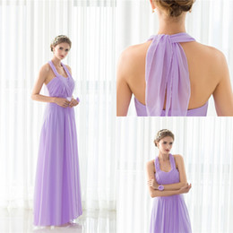 Robes De Demoiselle D'honneur En Mousseline De Soie Violet Été Pas Cher-Summer Beach Bohemian Purple Robes de demoiselle d'honneur 2017 Flow Chiffon Side Split Boho Custom Made Cheap Bridesmaid Gowns