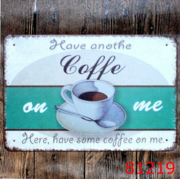 vintage coffee tin signs NZ - Home Decoration COFFEE Vintage Tin Signs Imitation Iron Plate Painting Decor The Wall of Bar Cafe Pub Shop Paint