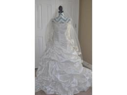 $enCountryForm.capitalKeyWord UK - Real Sample Ball Gown COR-748 Strapless Dropped Waist Bridal Wedding Dress Taffeta Handmade Flowers Layered Skirt Casamento