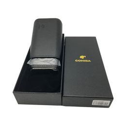 $enCountryForm.capitalKeyWord Canada - Good Quatily COHIBA Black Leather Cedar Lined Cigar Travel Holder Case 3 Count Portable with Black Gift Box Flocking Bag