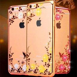Luxury Diamond Bling Electroplate Custodia morbida in TPU Secret Garden Flower Butterfly Custodie per iphone 5s se 6 6s plus 7 8 plus X Samsung s7 edge