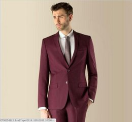 $enCountryForm.capitalKeyWord UK - New groom Notch Lapel Groom Tuxedos Burgundy Wine Man Suits Wedding Best Man (Jacket+Pants+Tie)0.
