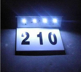 house plates NZ - Stainless steel solar house number light LED number plate lamp outdoor wall lamp Solar Decorative Light rain