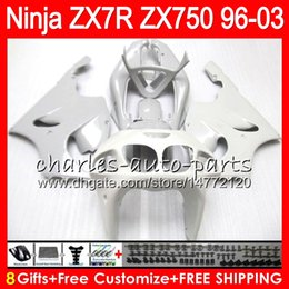 Discount pearl white fairing - 8Gifts 23Colors For KAWASAKI NINJA ZX7R 96 97 98 99 00 01 02 03 Pearl white 18NO40 ZX750 ZX 7R ZX-7R 1996 1997 1998 2001