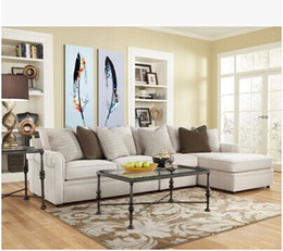 Pictures Decorated Living Rooms NZ - Hand Painted Abstract Feather Draw Painting on Canvas Two-Picture Combined Decorated Art in Living Room or Bedroom