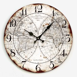 wholesale 34cm large decorative wall clocks with world map print modern design silent living room wall watches for home decor