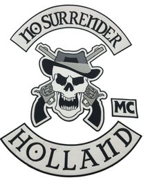 Wholesale New NO SURRENDER Motorcycle Embroidered Iron On Patch Large Full Back Size Patch for Jacket Vest Patch G0415