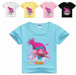 tops school girls UK - NEW Summer Tops For Girls T-shirt Trolls kids T-shirt For Girls Tees Casual Print Shirt School Girl Clothing Baby Tees