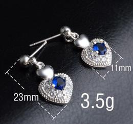 $enCountryForm.capitalKeyWord Australia - 925 Sterling Silver Plated Cute Heart Stud Earring DHL Love Wedding Blue Swarovski Elements Austrian Crystal Stone Earring Jewelry for Girls