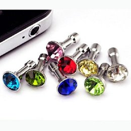 luxury cell phone accessories wholesale Canada - Luxury Phone Accessories Small Diamond Rhinestone 3.5mm Dust Plug Earphone Plug For Smart Phone Cell Phone Samsung HTC