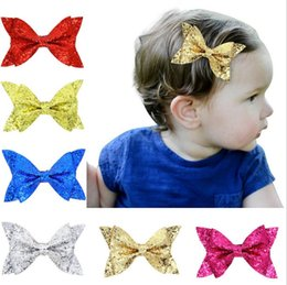 $enCountryForm.capitalKeyWord NZ - Hot sale New children's large sequins bow hair clip flash bow bow baby headdress hair ornaments FJ105 mix order 60 pieces a lot