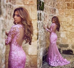 black plum prom dress Australia - Hot Said Mhamad Mermaid Tulle Appliques Lace Plum Evening Dresses Sweep Train Long Sleeve Formal Party Sheer illusion Back Arabic Prom Gown