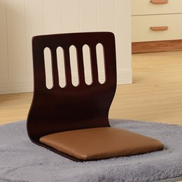 Japanese Tatami Zaisu Chair NZ - (4pcs lot) Japanese Zaisu Chair Leather Cushion Seat Asian Furniture Traditional Tatami Floor Legless Zaisu Chair Design