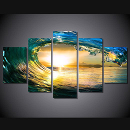 seascape canvas prints NZ - 5 Pcs Set Framed HD Printed Tropical Paradise Ocean Seascape Picture Canvas Print Decor Poster Canvas Wall Art Oil Painting