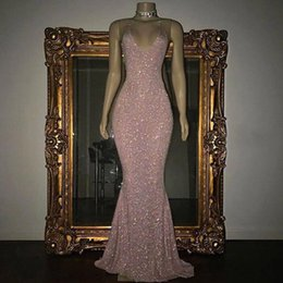 Red meRmaid dResses Roses online shopping - Real Photos Stunning Rose Pink Sequined K19 Prom Dresses Sexy Spaghetti Straps Mermaid Sleeveless Evening Gowns