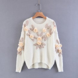 Barato Tricô Flores Para Camisolas Mulheres-Mulheres 3D Rose Flowers Sweets Fluffy 2017 Outono Inverno Moda Lã macia Pullovers oversized Jumpers Casual Loose Knit Tops