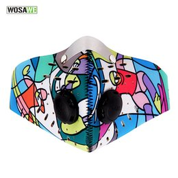 Discount neoprene cycling filter mask - Wholesale- WOSAWE Women Men Sports Cycling Masks Carbon Filters Mask Dust Smog Protective Half Face Mask Neoprene Mask