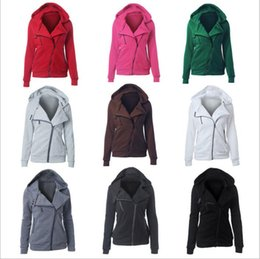 Barato Hoodies Com Colarinho-Mulheres Roupas Hoodie Zipper Coat Outono Casacos Turn-down Collar Sweatshirt Inverno Outwear Moda Jumper Solid Blusas Pullover Tops B2539
