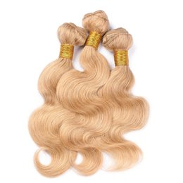 Wholesale Best Quality Virgin Brazilian Strawberry Blonde Human Hair Bundles Body Wave Honey Blonde Human Hair Weaves Extensions Tangle Free
