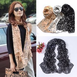 Muffler Neck Canada - Wholesale- Women Musical Music Note Black Chiffon Neck Scarf Shawl Stole Scarves Muffler