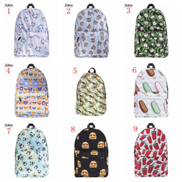 Discount student backpack bags - 16 Style Backpack emoji fruit pinaple tropical Unicorn Student Bags Hot 3D Printing Fashion Travel Bag Woman Man Shoulde