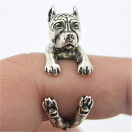 Dog Bands Canada - 10pcs lot newest wholesale cute Great Dane Ring free size cartoon animal dog Ring bulldog ring jewelry for lady